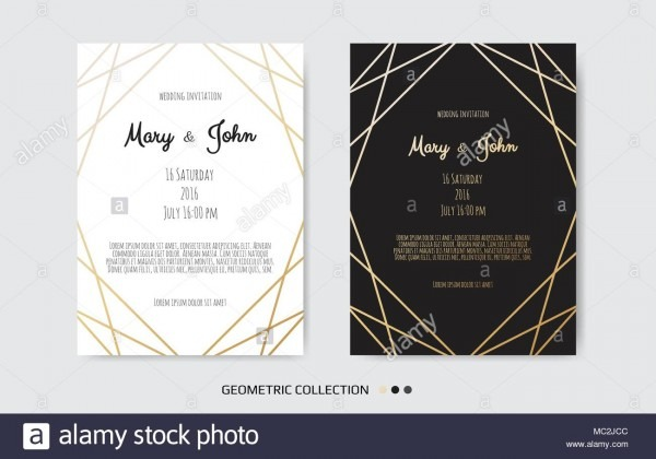 Wedding Invitation, Invite Card Design With Geometrical Art Lines