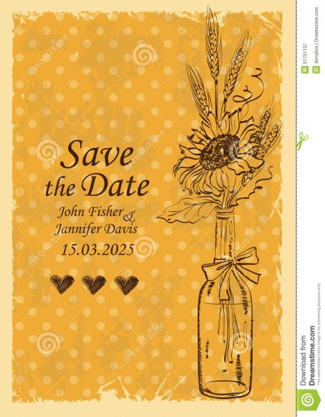 Wedding Invitation With Mason Jar And Sunflower Stock Vector