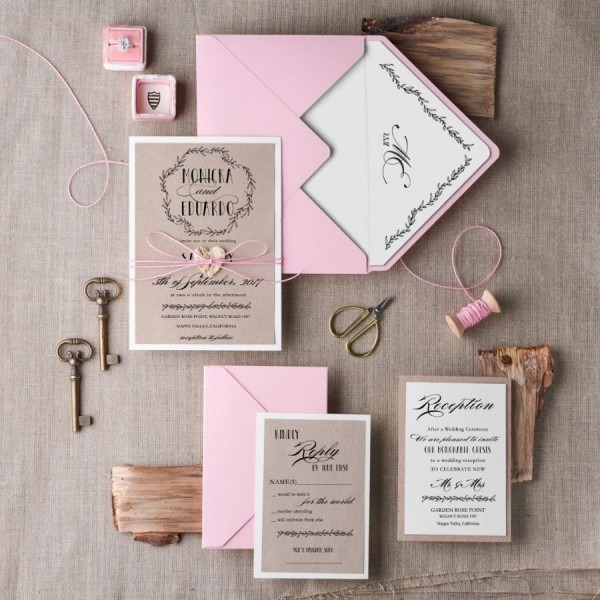 Wedding Invitation Suite (20), Wedding Invitation Rustic, Pink