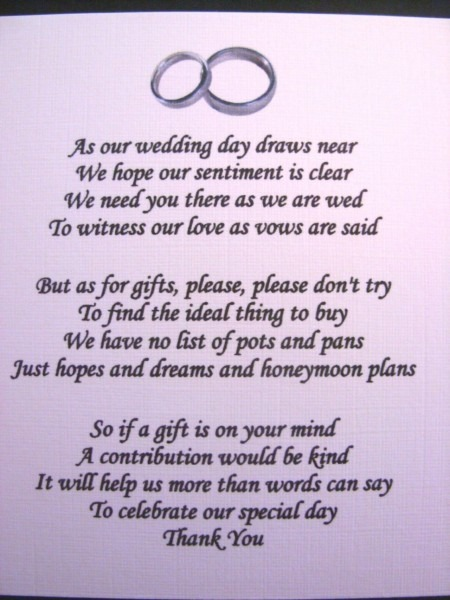 Gifts & Favors   Wedding Poems Asking For Money Gifts Not Presents