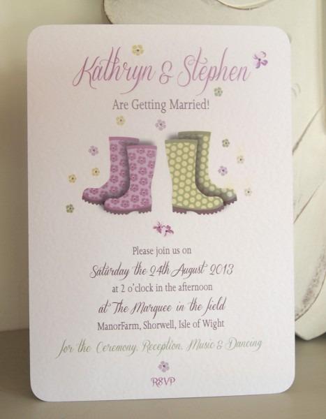 Wellington Boots Wedding Invitation   Festival Wedding Invitations