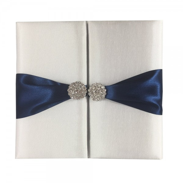 White Invitation Folder With Navy Blue Bow & Crystal Embellishment