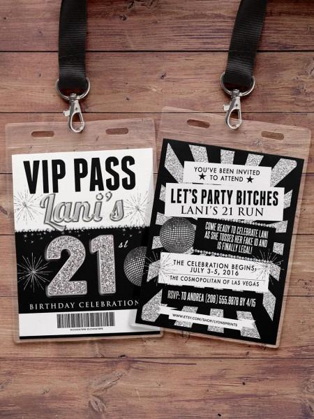 White Party Vip Pass St Cool Las Vegas 21st Birthday Invitations