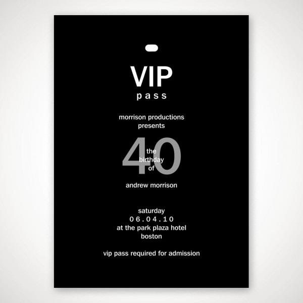 Personalized Vip Pass Birthday Invitation