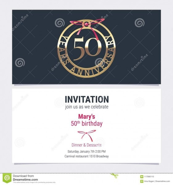 50 Years Anniversary Invitation Vector Stock Vector