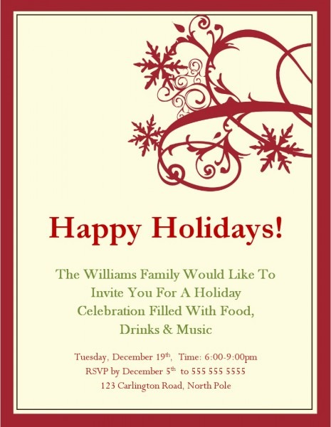 004 Free Holiday Invitation Templates Party To Make Your Divine