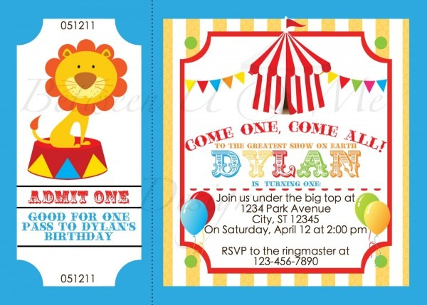 009 Circus Invitation Template Free Beautiful Ideas Party Ticket