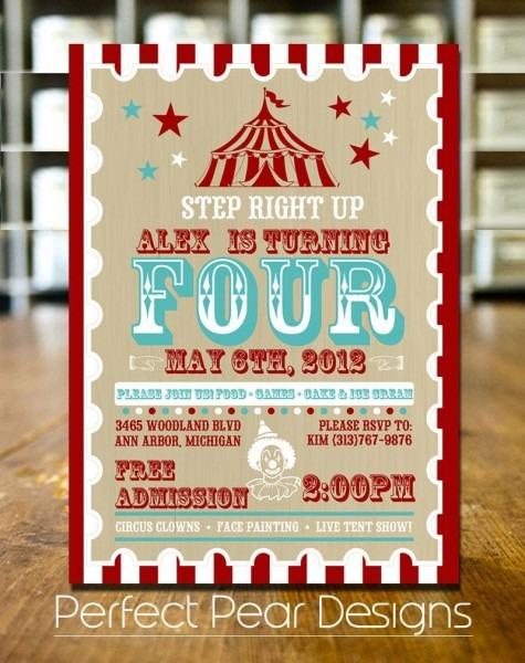 Birthday Party Invitation, Vintage Mod  Circus Poster, Aqua White