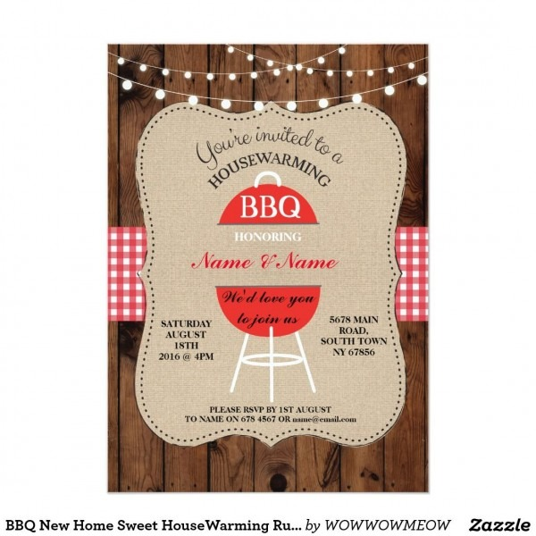 Bbq New Home Sweet Housewarming Rustic Wood Invite