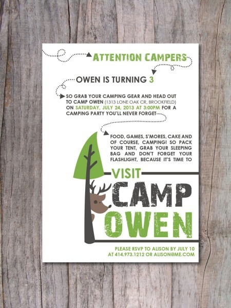 Modern Camping Birthday Party Invitation  $15 00, Via Etsy