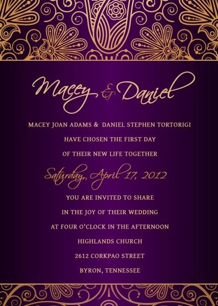 Royal Purple And Gold Damask Wedding Invitation
