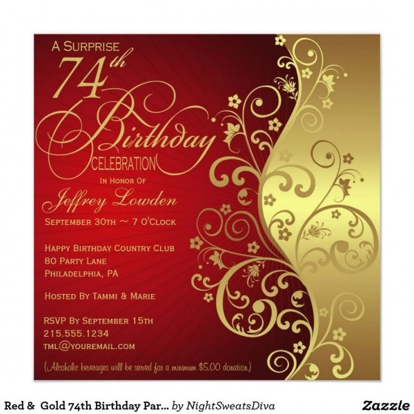 Red & Gold 74th Birthday Party Invitation