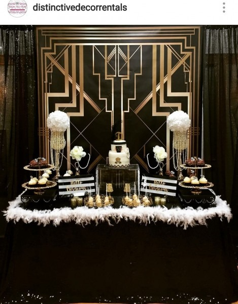 Gatsby Theme 50th Birthday Party Dessert Table And Decor