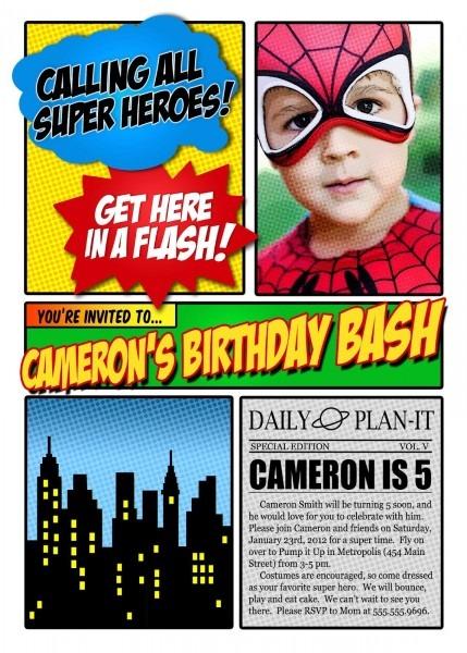 The Patty Cake Press  Super Hero Invitation