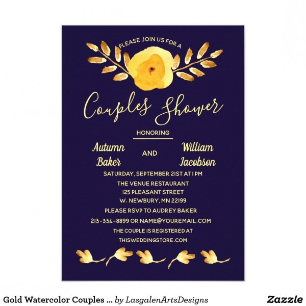 Gold Watercolor Couples Shower Violet Invitation