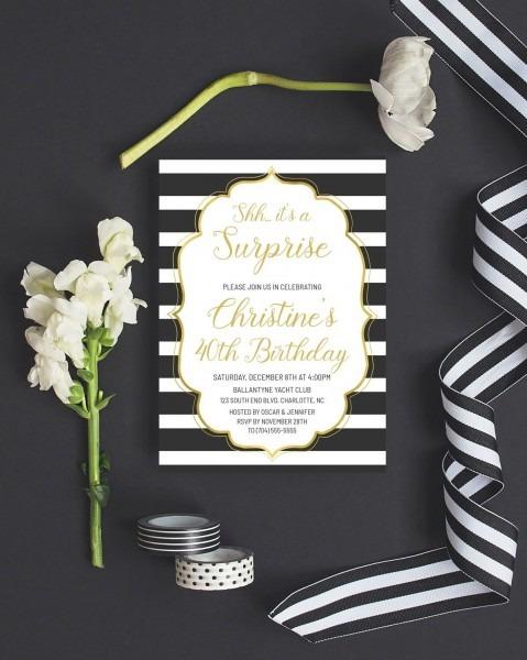 Surprise Birthday Invitation Gold, Shh It's A Surprise Party
