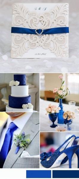 Elegant Laser Cut Wedding Invitations With Royal Blue Rhinestone