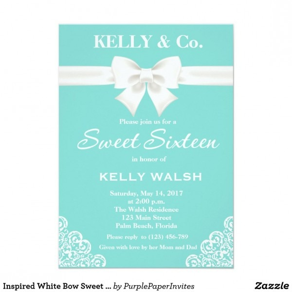 Inspired White Bow Sweet Sixteen Invitation Cute And Unique Aqua