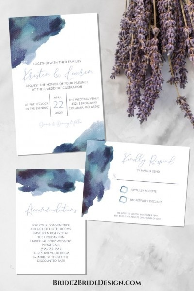 Affordable Custom Wedding Invitations  Simple, Dusty Blue