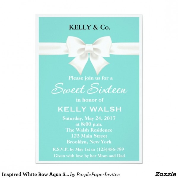 Inspired White Bow Aqua Sweet Sixteen Invitation Cute And Unique