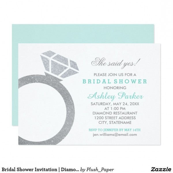 Aqua Blue Bridal Shower With Diamond Ring Invitation