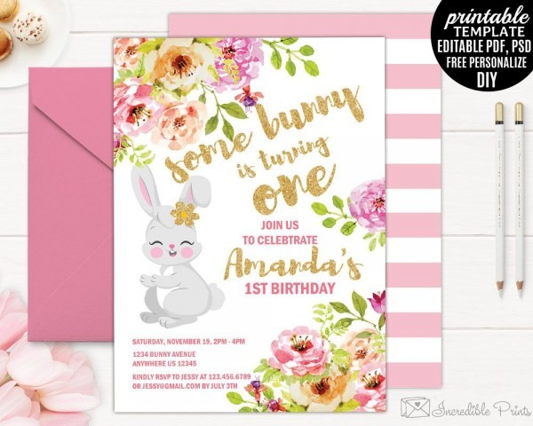 Girl Birthday Invitation Template  Printable Bunny Birthday