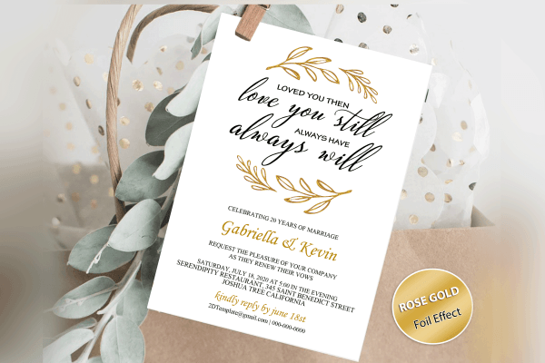 Renew Vows Invitation Template, Anniversary Invite