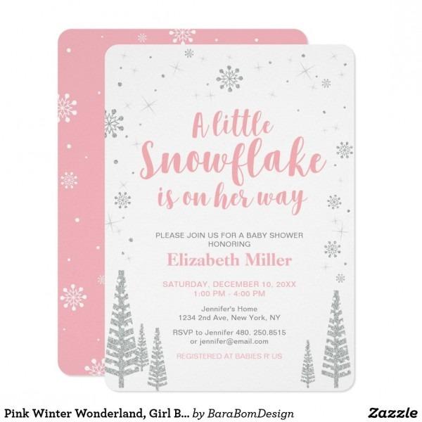 Pink Winter Wonderland, Girl Baby Shower, 4 5x6 25 Invitation