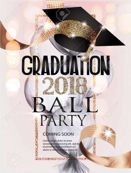 Graduation Ball Invitation Card With Gold Graduation Cap, Frame