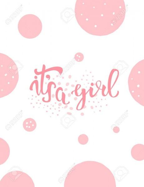 It's A Girl Baby Shower Invitation Template  Handwritten Lettering