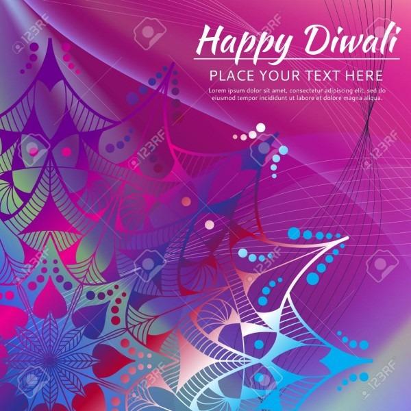 Happy Diwali Invitation Card  Mandala On The Colorful Background