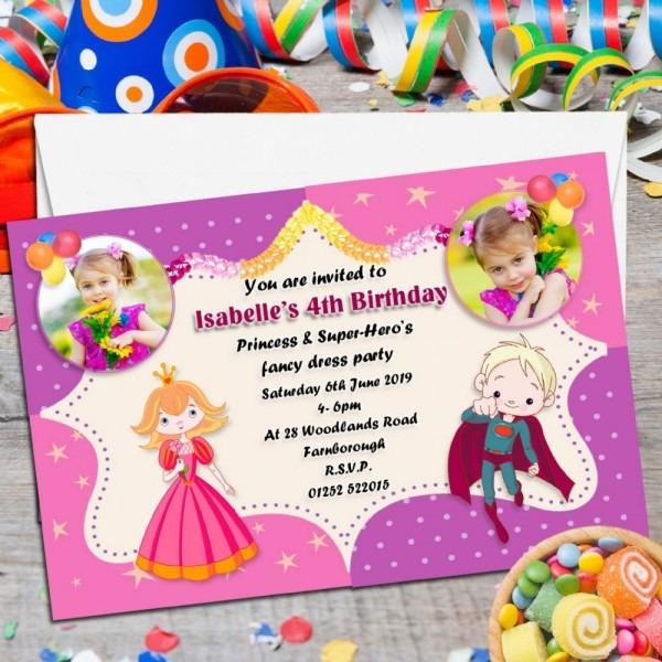 Princess And Super Hero Parersonalised Invitations Home, Furniture