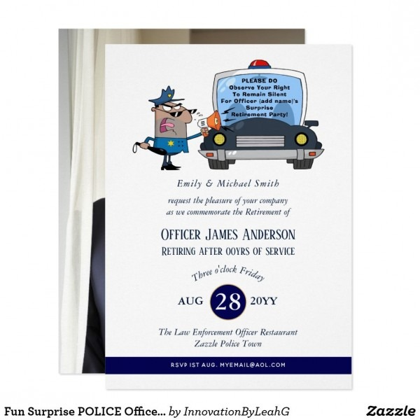Surprise Retirement Police Officer Party Funny Invitation