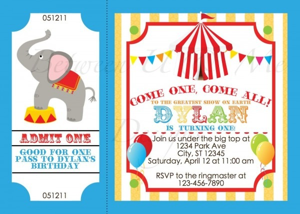 Personalized Carnival Circus Birthday Party Invitation Printable