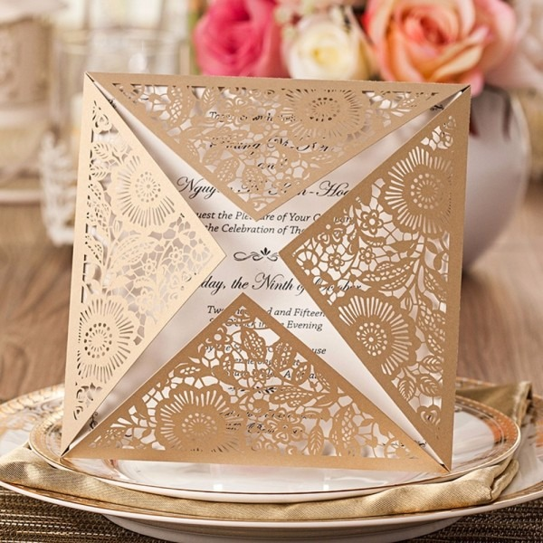 12pcs Lot Cheapest Hollow First Communion Invitation Card Laser
