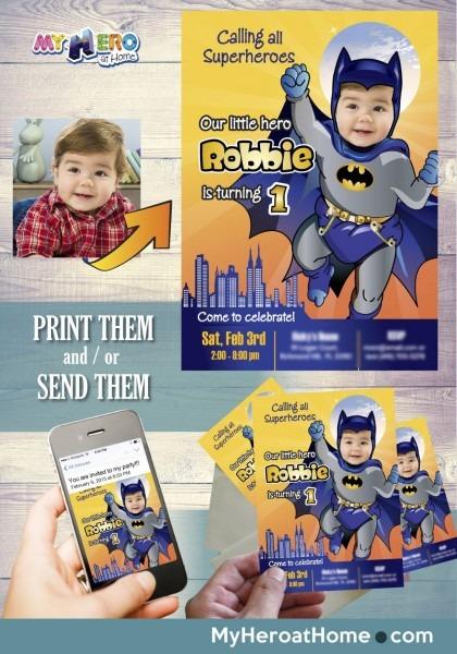 Baby Batman 1st Birthday Invitation  Batman First Birthday  1st