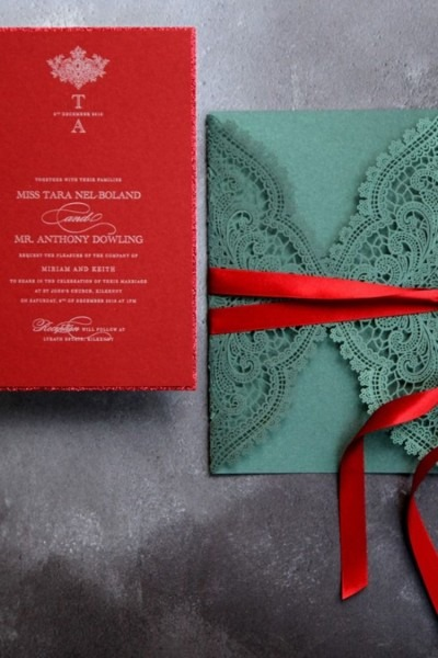 Gorgeous Winter Themed Wedding Invitations  Emerald Laser Cut With