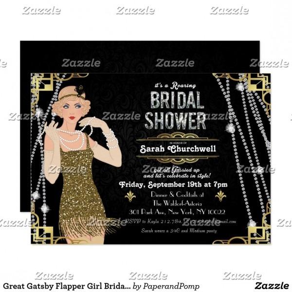 Great Gatsby Flapper Girl Bridal Shower Invitation