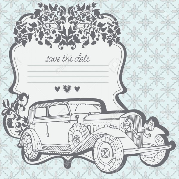 Wedding Invitation Card With Retro Car And Floral Elements, May