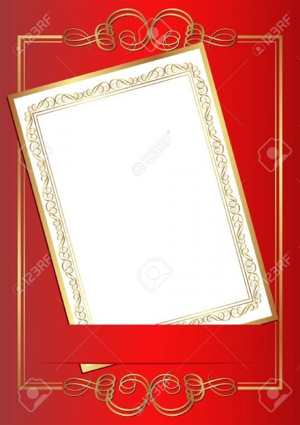 Invitation Card On Red Background With Gold Ornaments Royalty Free
