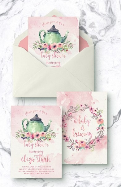 Pink Tea Party Baby Shower Invites, Floral Baby Is Brewing