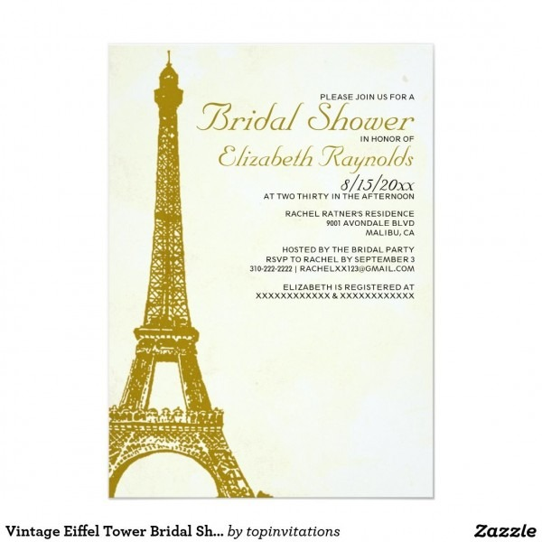 Vintage Eiffel Tower Bridal Shower Invitations