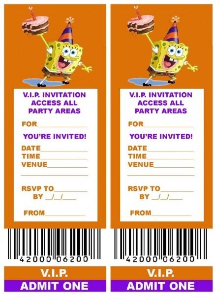 Spongebob  Free, Printable V I P  Ticket Style Spongebob Party