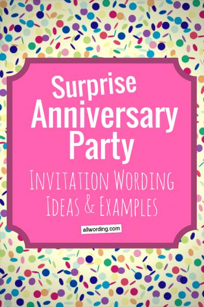 Surprise Anniversary Party Invitation Wording