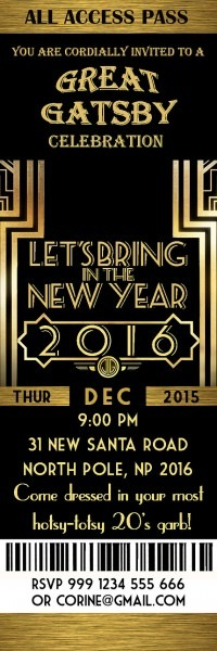 Great Gatsby Invitation, New Year Invitation, New Year's Eve