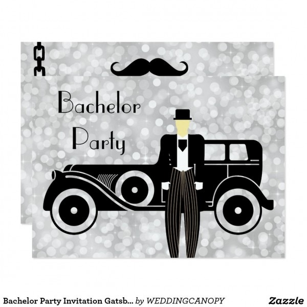 Bachelor Party Invitation Gatsby Vintage Car