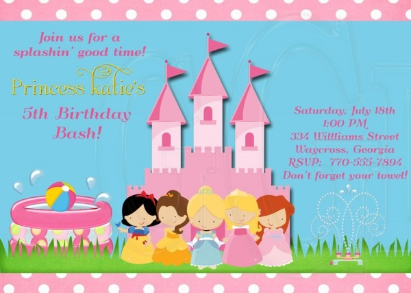 Royal Pool Party Invite, Princess Theme Birthday, Princess Pool