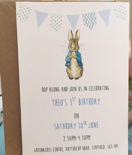 Peter Rabbit Childrens Birthday Christening Baby Shower Thank You