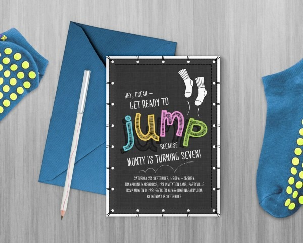 Jump Printable Invitation, Trampoline Party, Bounce Party, Flip
