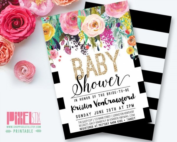 Floral Baby Shower Invitation, Black And White Striped Baby Shower